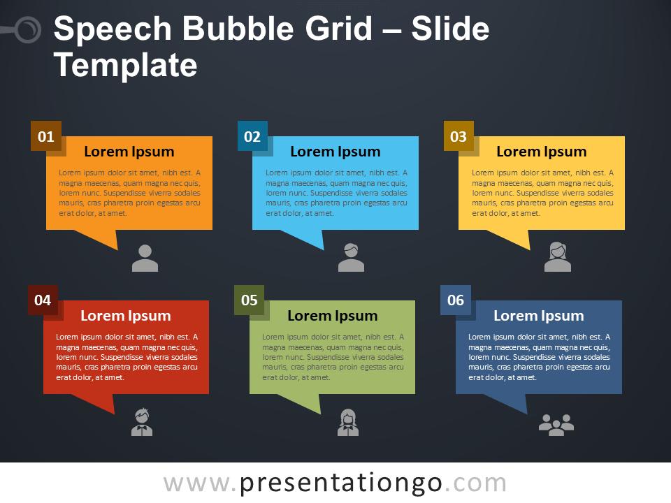 Free Speech Bubble Grid PowerPoint Template