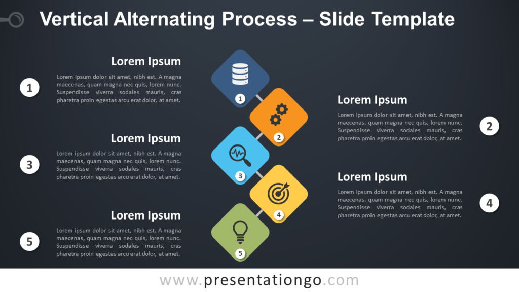 Free Vertical Alternating Process Diagram for PowerPoint and Google Slides