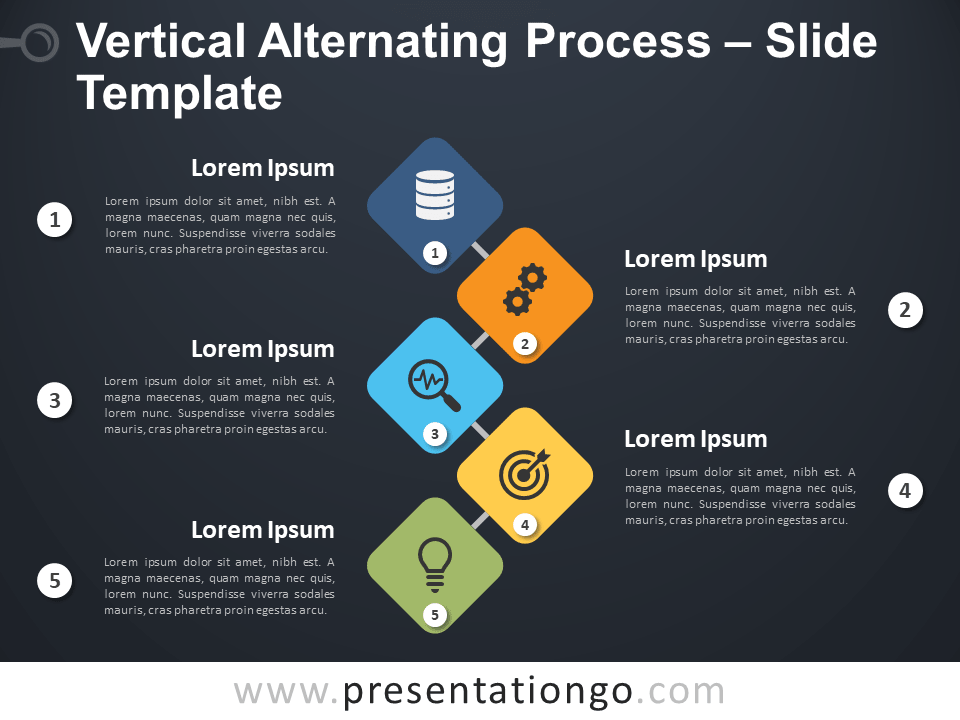 Free Vertical Alternating Process Diagram for PowerPoint