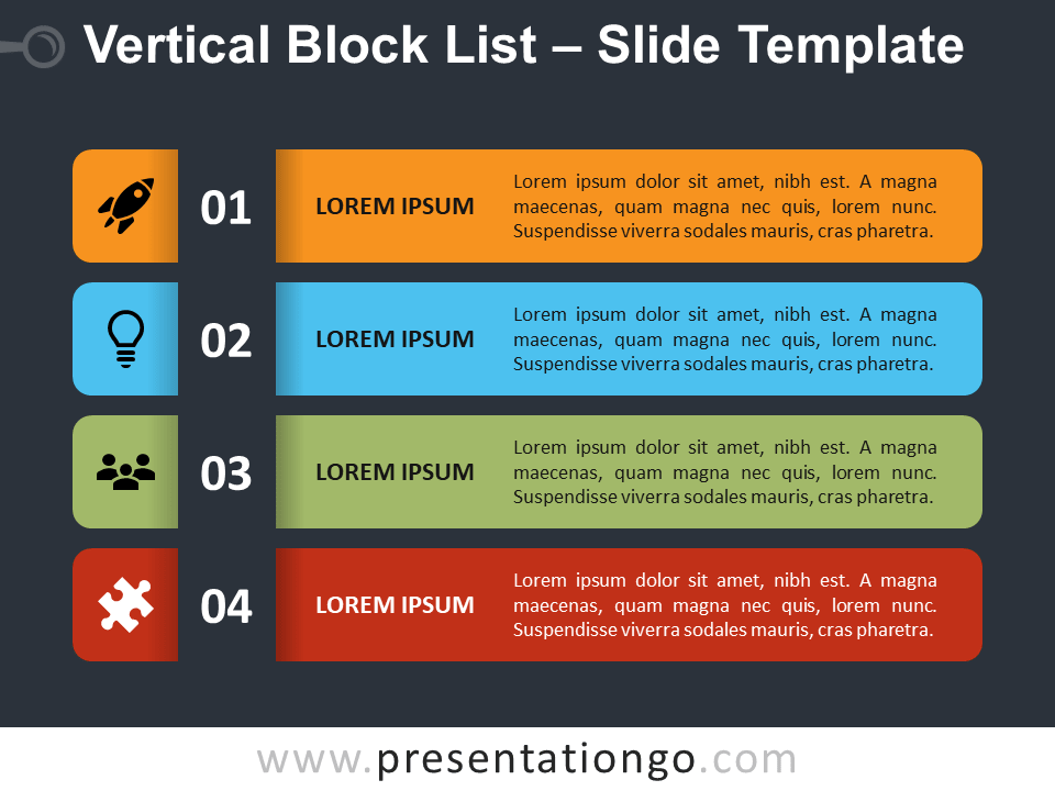 Free Vertical Block List PowerPoint Template