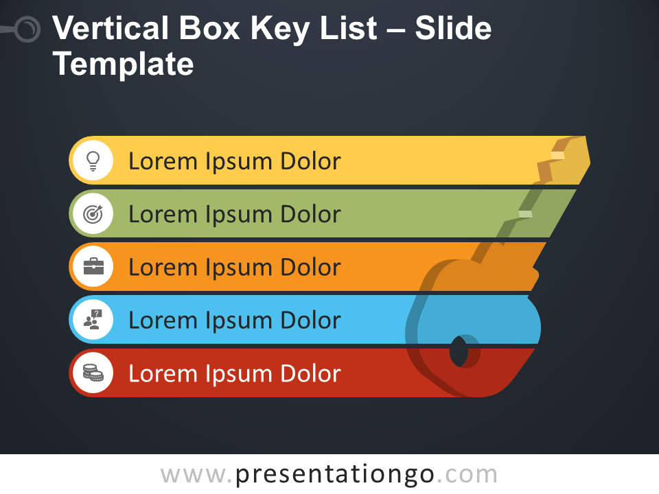 Free Vertical Box Key List PowerPoint Template
