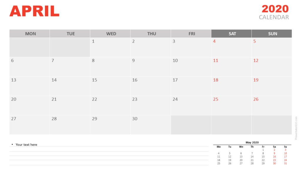 Free April 2020 Calendar for PowerPoint and Google Slides