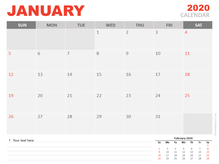 Free Calendar January 2020 for PowerPoint