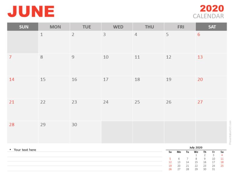Free Calendar June 2020 for PowerPoint