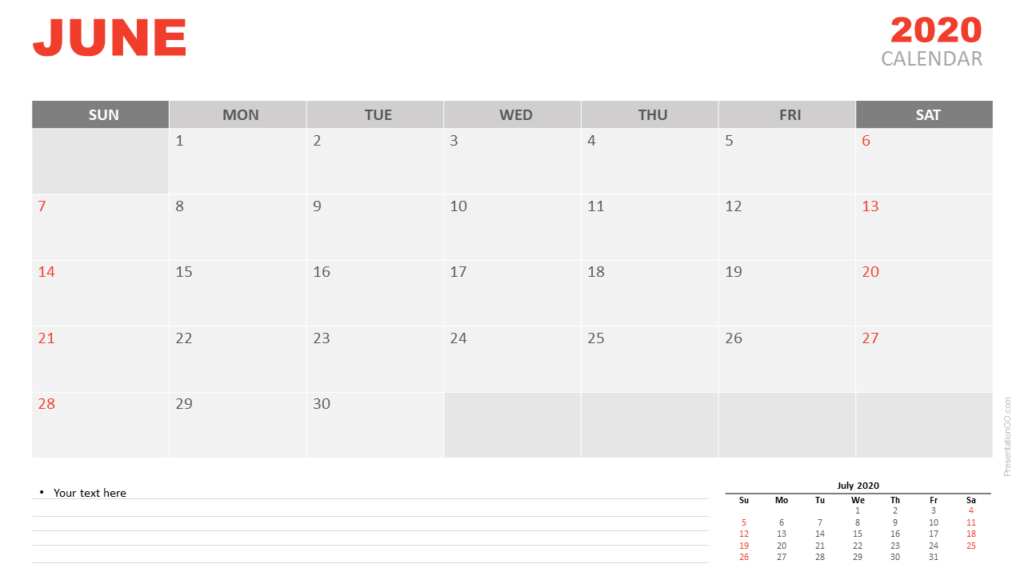 Free Calendar June 2020 for PowerPoint and Google Slides