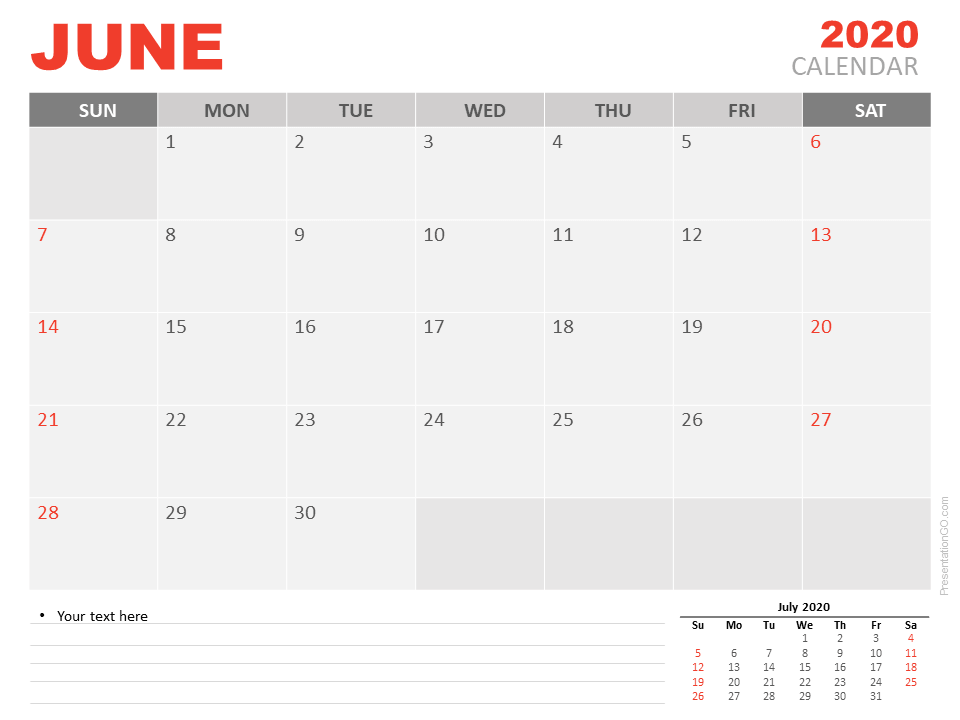 Free Calendar June 2020 for PowerPoint