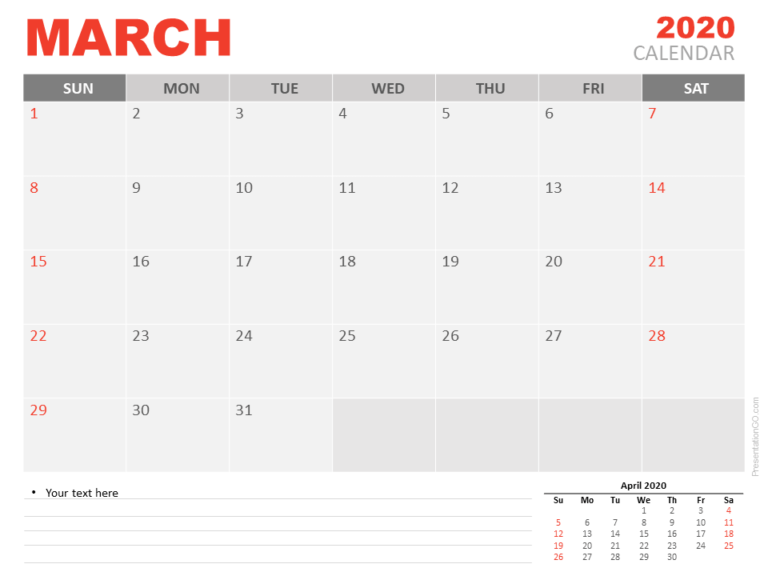 Free Calendar March 2020 for PowerPoint