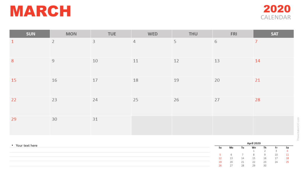 Free Calendar March 2020 for PowerPoint and Google Slides