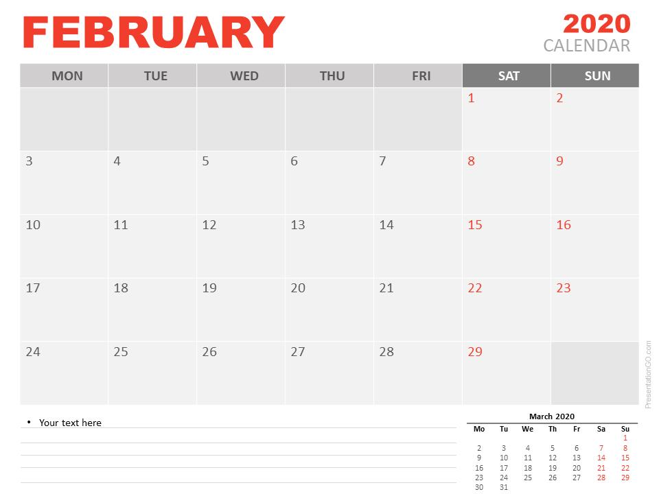 Free February 2020 Calendar for PowerPoint