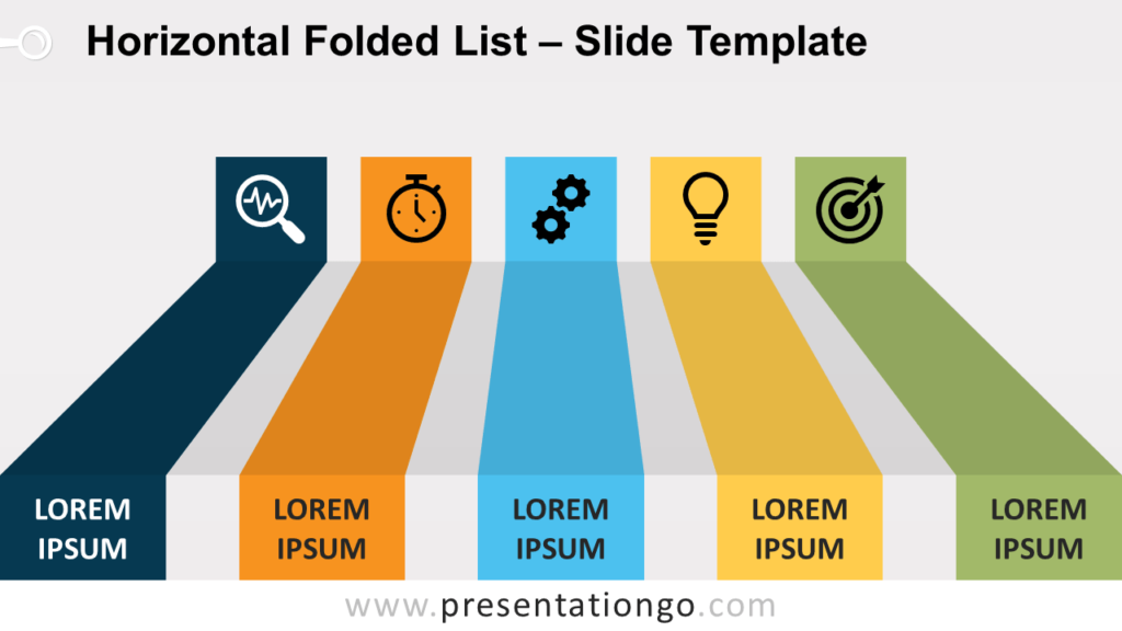 Free Horizontal Folded List for PowerPoint and Google Slides
