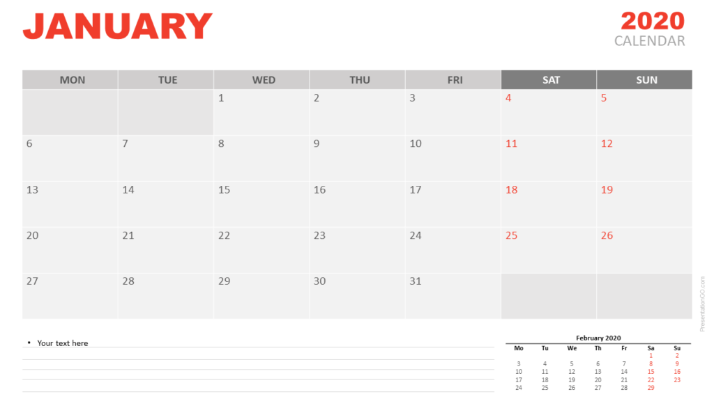 Free January 2020 Calendar for PowerPoint and Google Slides