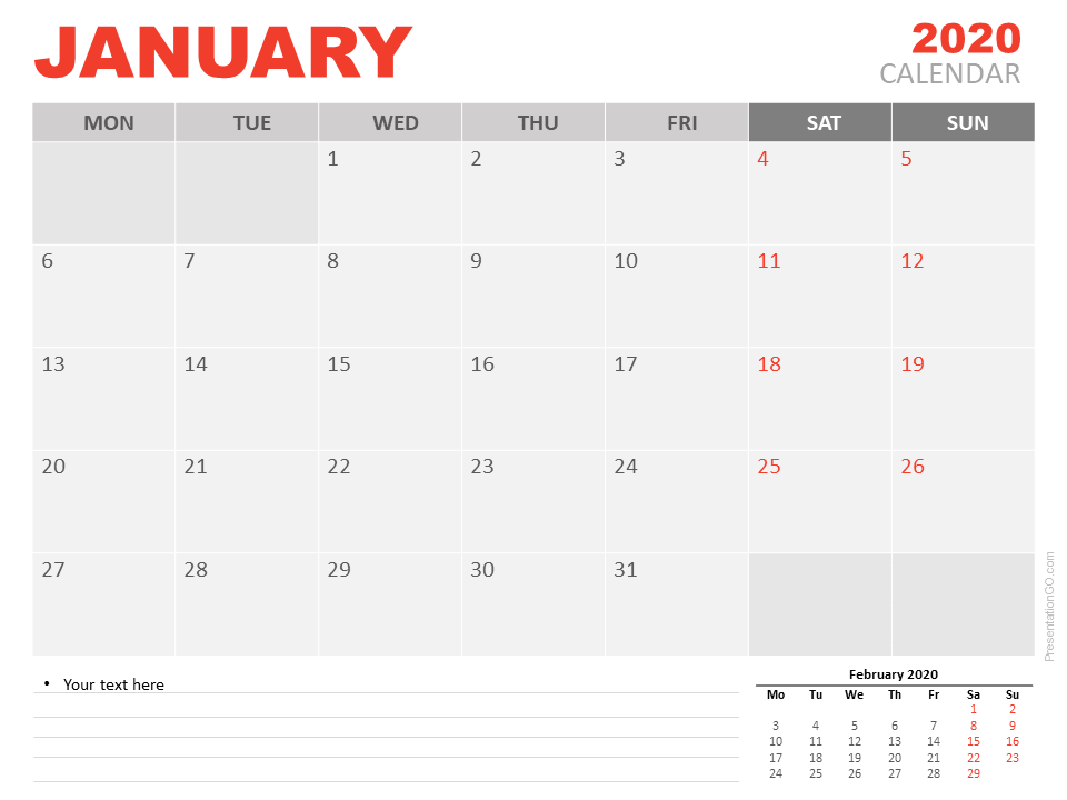 Free January 2020 Calendar for PowerPoint