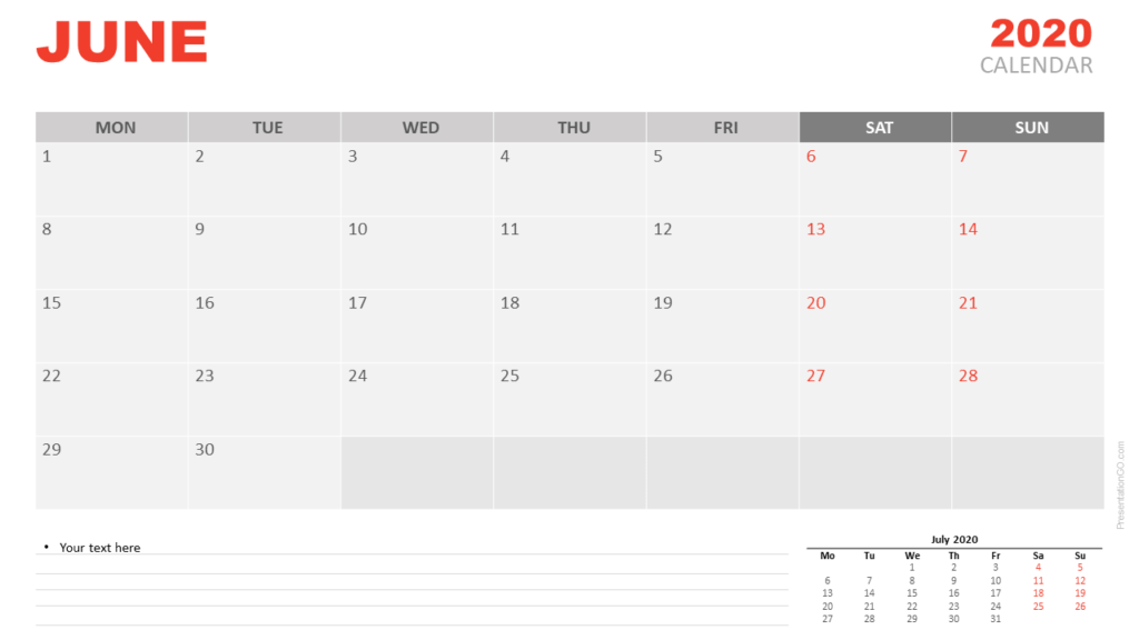 Free June 2020 Calendar for PowerPoint and Google Slides