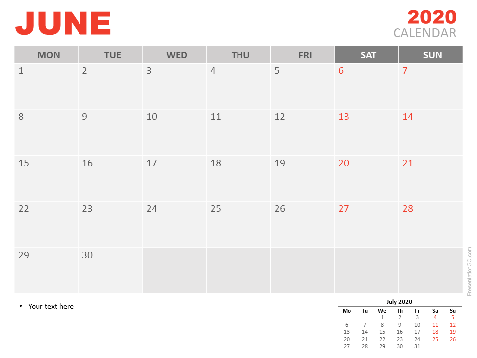 Free June 2020 Calendar for PowerPoint