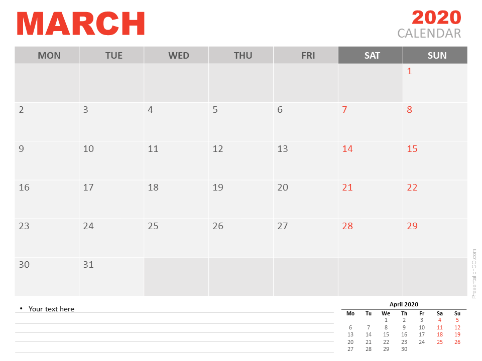 Free March 2020 Calendar for PowerPoint