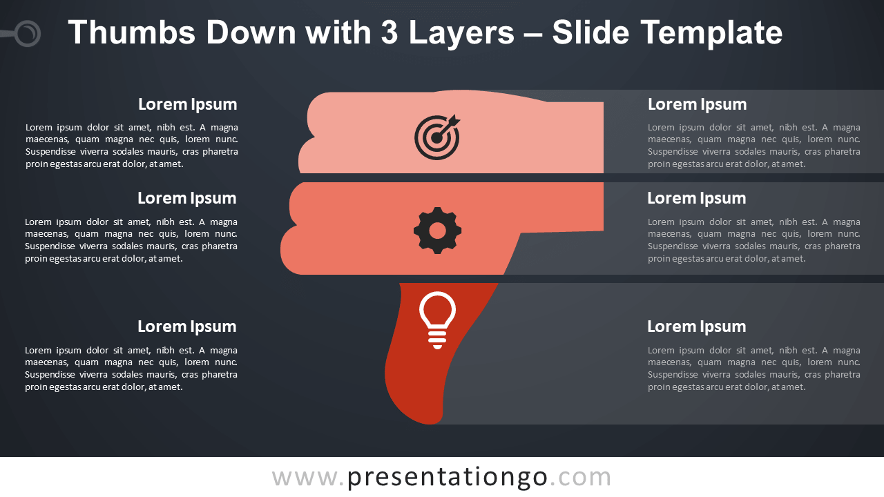 Free Thumbs Down with 3 Layers Infographic for PowerPoint and Google Slides