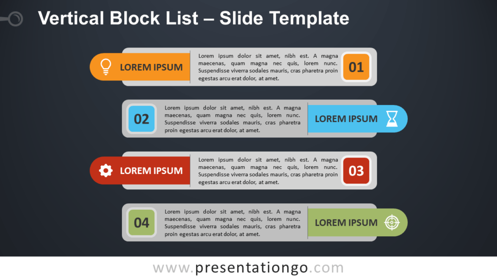Free Vertical Block List Template for PowerPoint and Google Slides