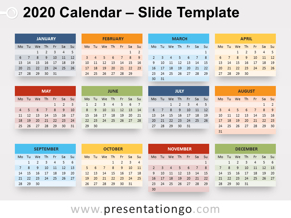 Free 2020 Calendar for PowerPoint - Week Starts Monday
