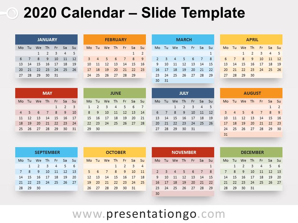 Free 2020 Calendar for PowerPoint - Week Starts Monday