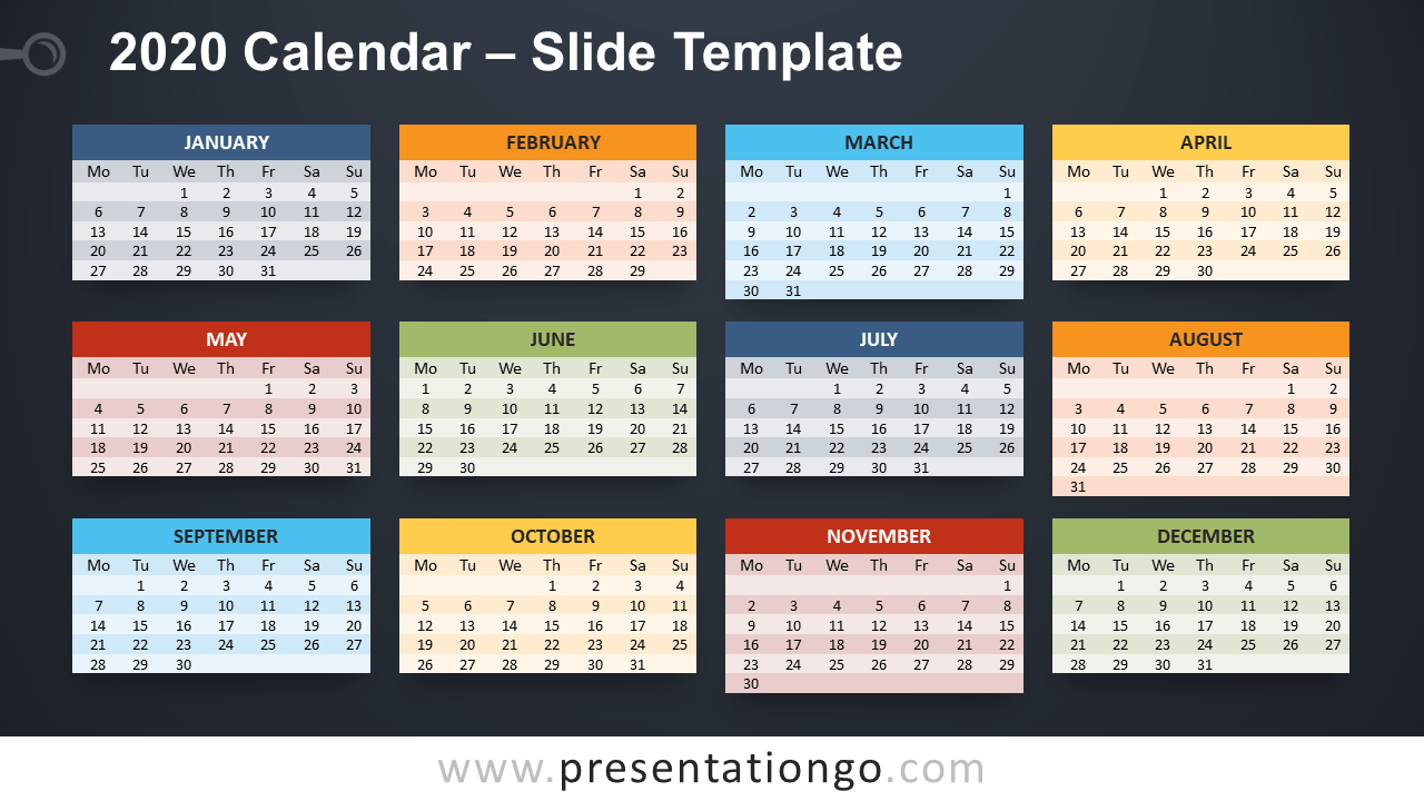 Free 2020 Calendar PowerPoint Template and Google Slides - Week Starts Monday
