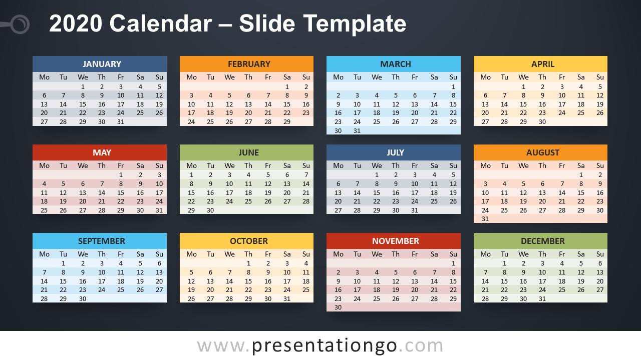 Free 2020 Calendar PowerPoint Template and Google Slides - Week Starts Monday