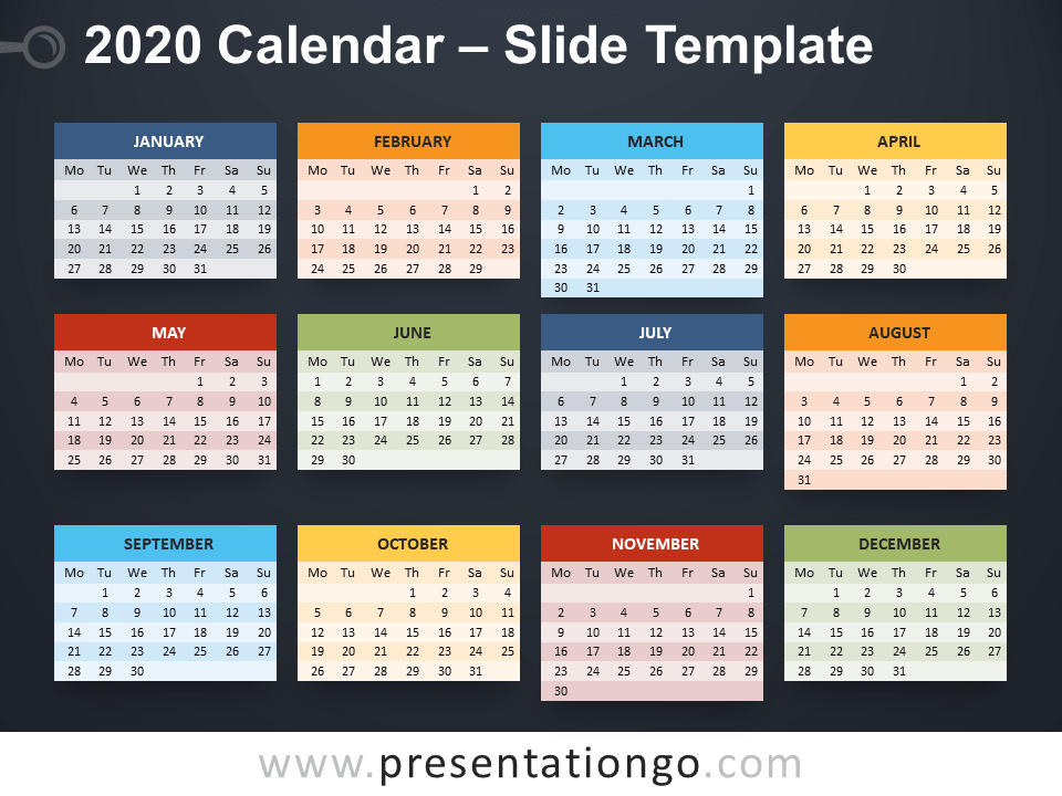 2020 Calendar for PowerPoint and Google Slides   PresentationGO.com