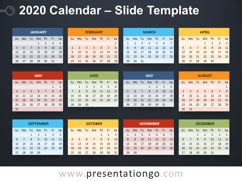 Free 2020 Calendar Template for PowerPoint - Week starts Monday
