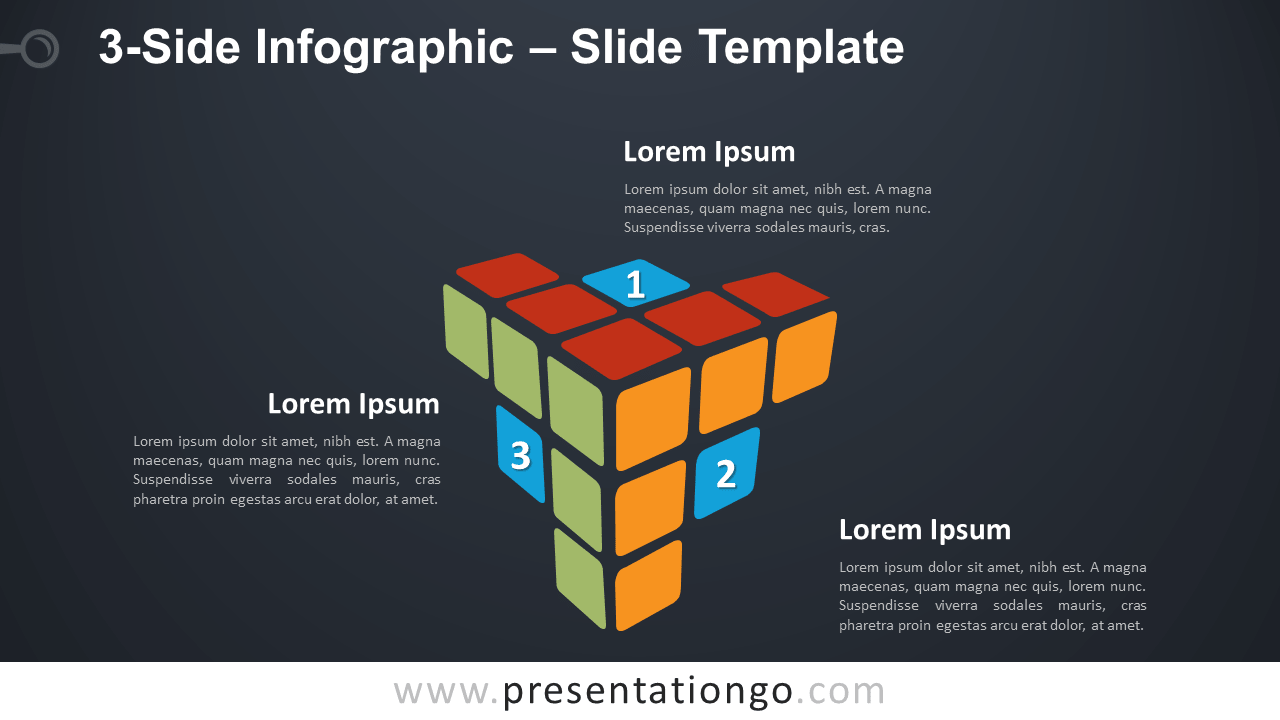 Free 3-Side Infographic Rubik's Cube for PowerPoint and Google Slides