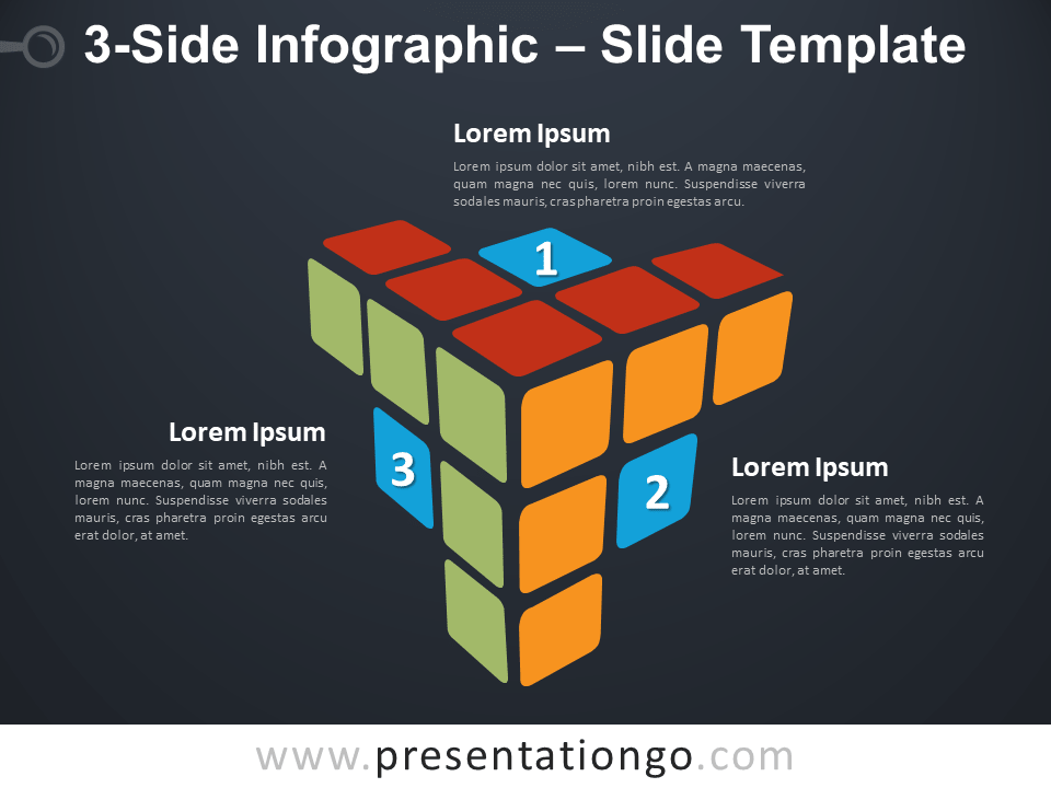 Free 3-Side Infographic Rubik's Cube for PowerPoint