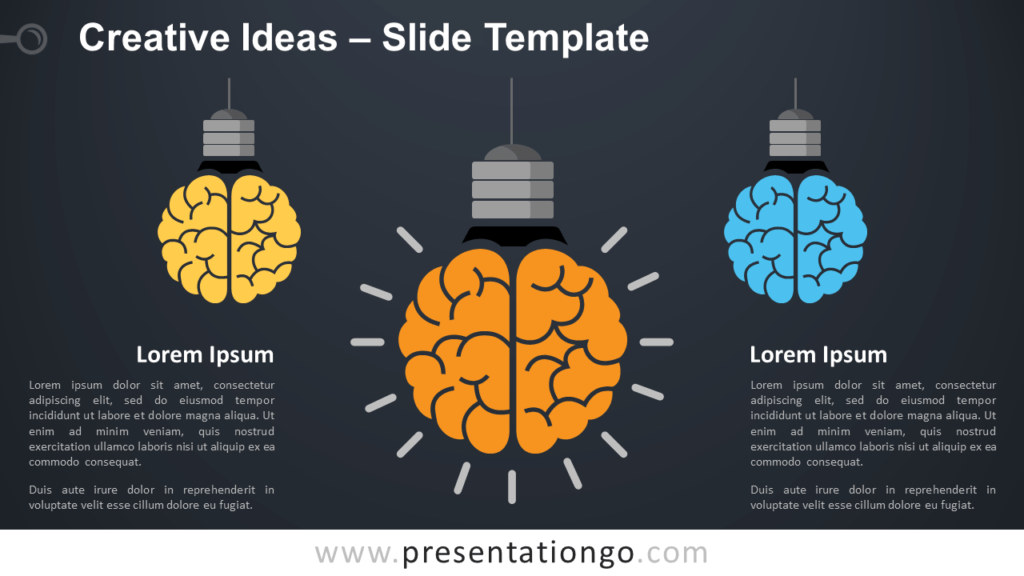 Free Creative Ideas with Light Bulbs and Brain for PowerPoint and Google Slides