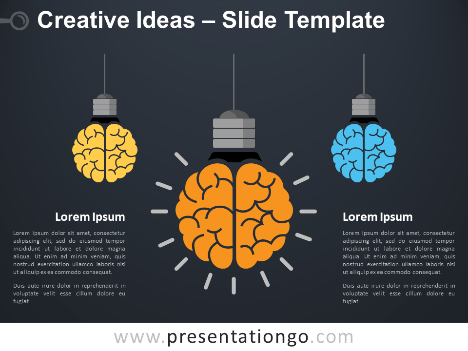 Free Creative Ideas with Light Bulbs and Brain for PowerPoint