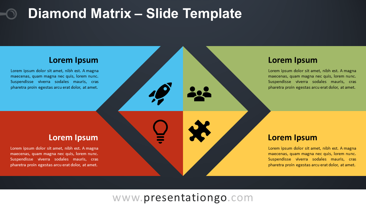 Free Diamond Matrix Diagram for PowerPoint and Google Slides