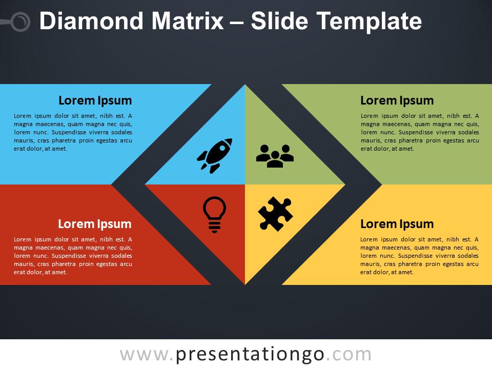 Free Diamond Matrix Diagram for PowerPoint
