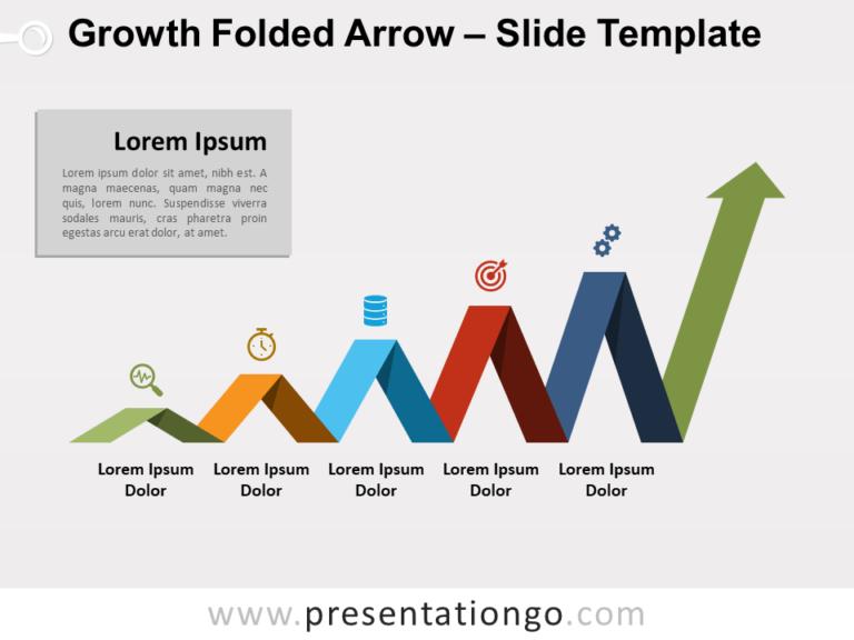 Free Growth-Folded-Arrow-PowerPointGrowth Folded Arrow for PowerPoint