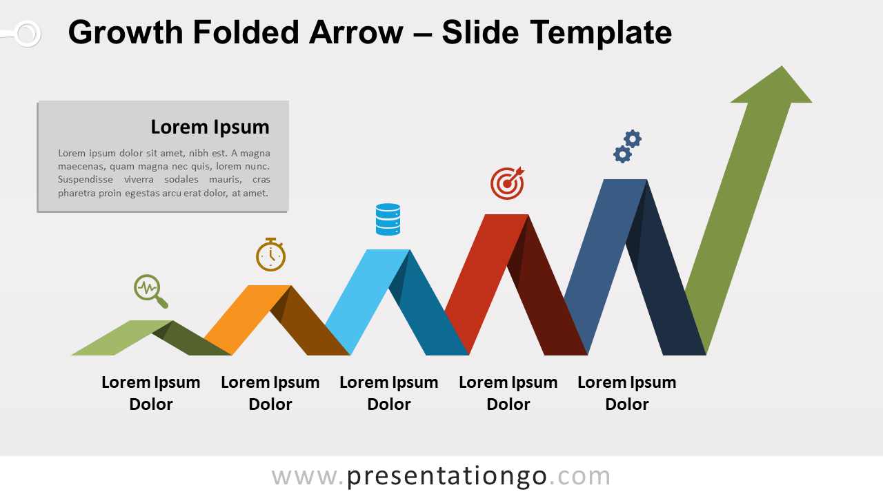 Free Growth Folded Arrow for PowerPoint and Google Slides