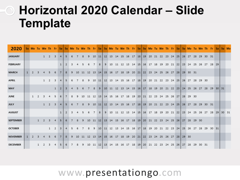 Free Horizontal 2020 Calendar for PowerPoint