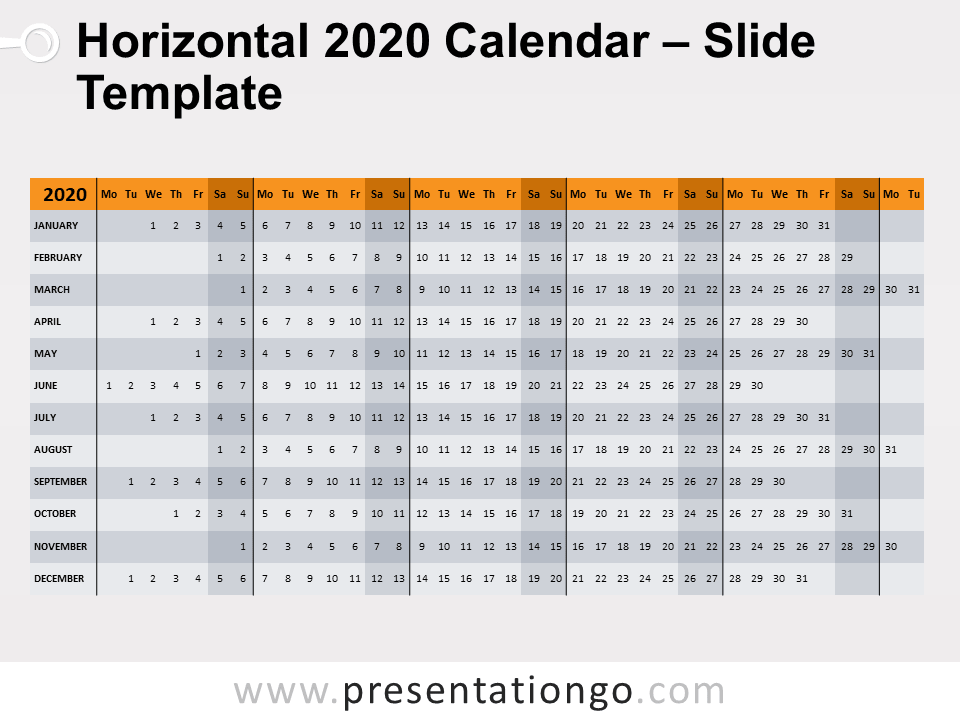 Free Horizontal 2020 Calendar Template for PowerPoint - Week Starts Monday