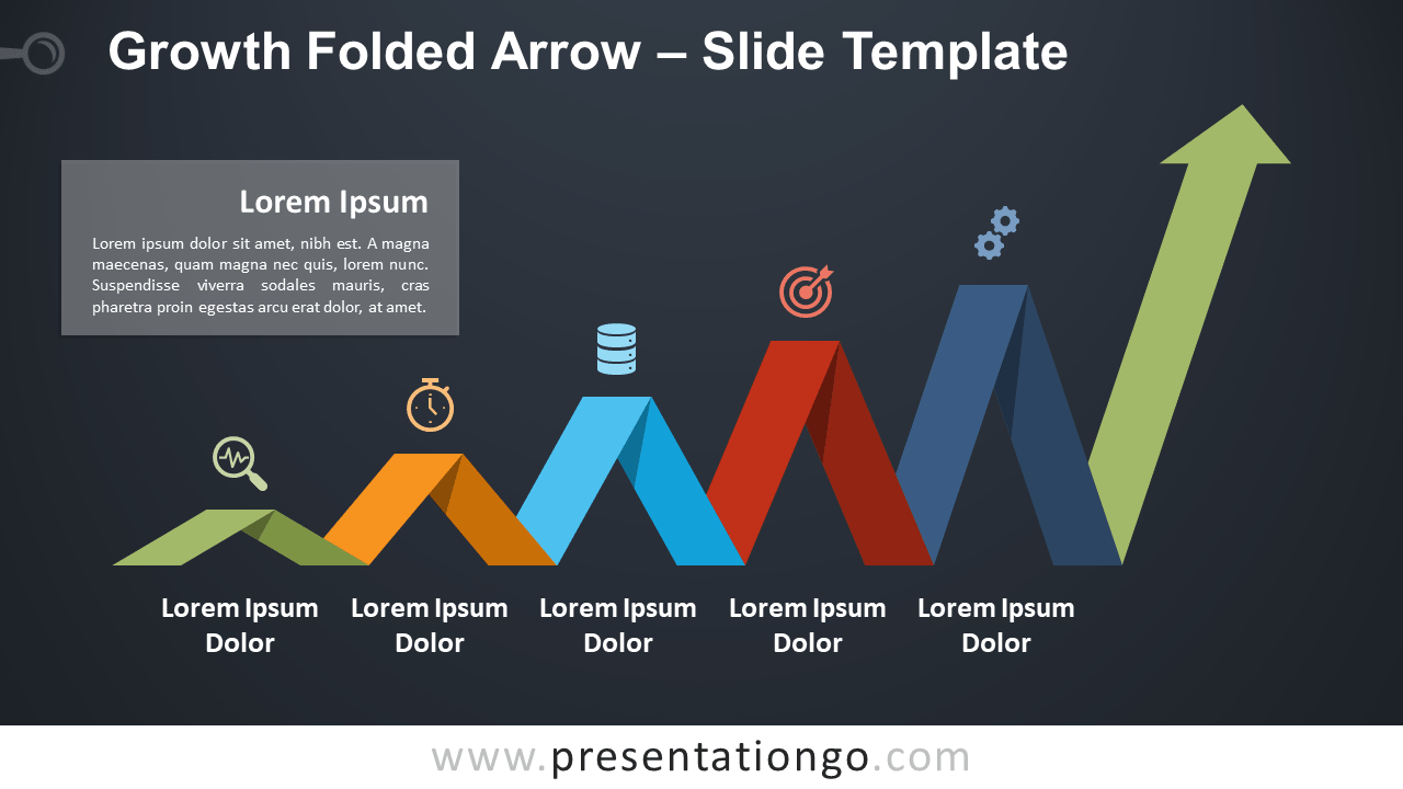 Free Increasing Folded Arrow for PowerPoint and Google Slides
