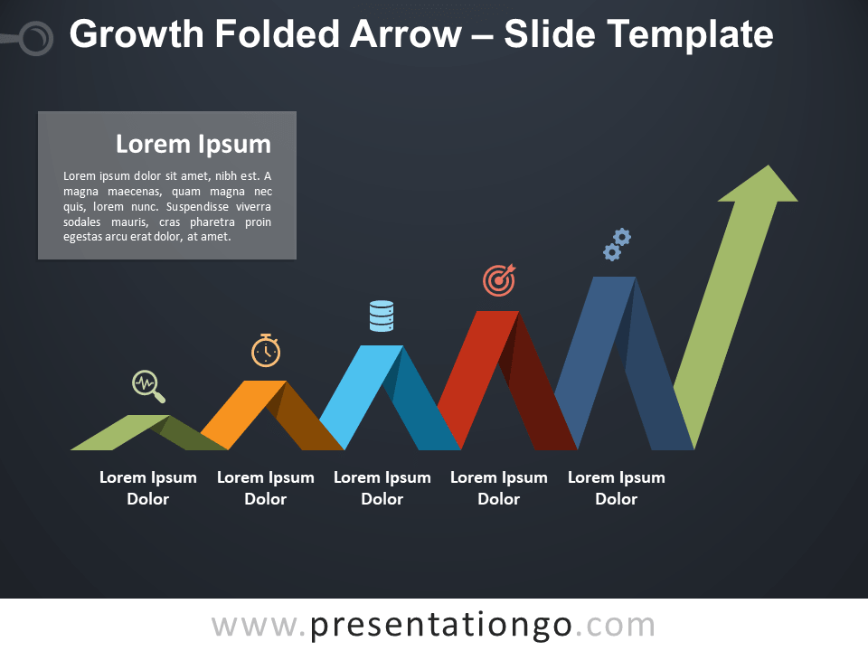 Free Increasing Folded Arrow for PowerPoint