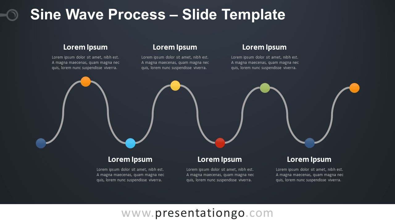 Free Sine Wave Process Diagram for PowerPoint and Google Slides