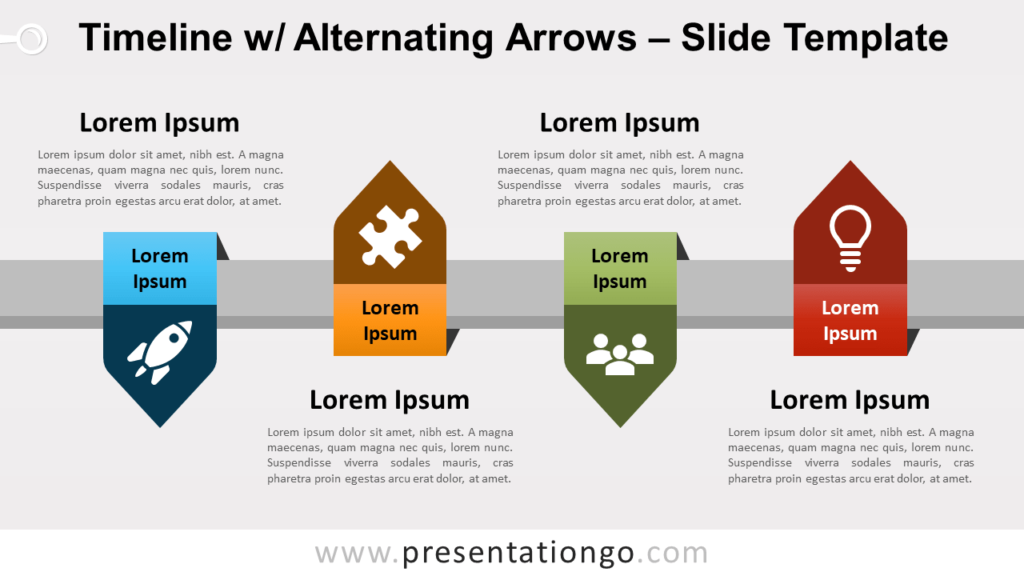 Free Timeline with Alternating Arrows for PowerPoint and Google Slides