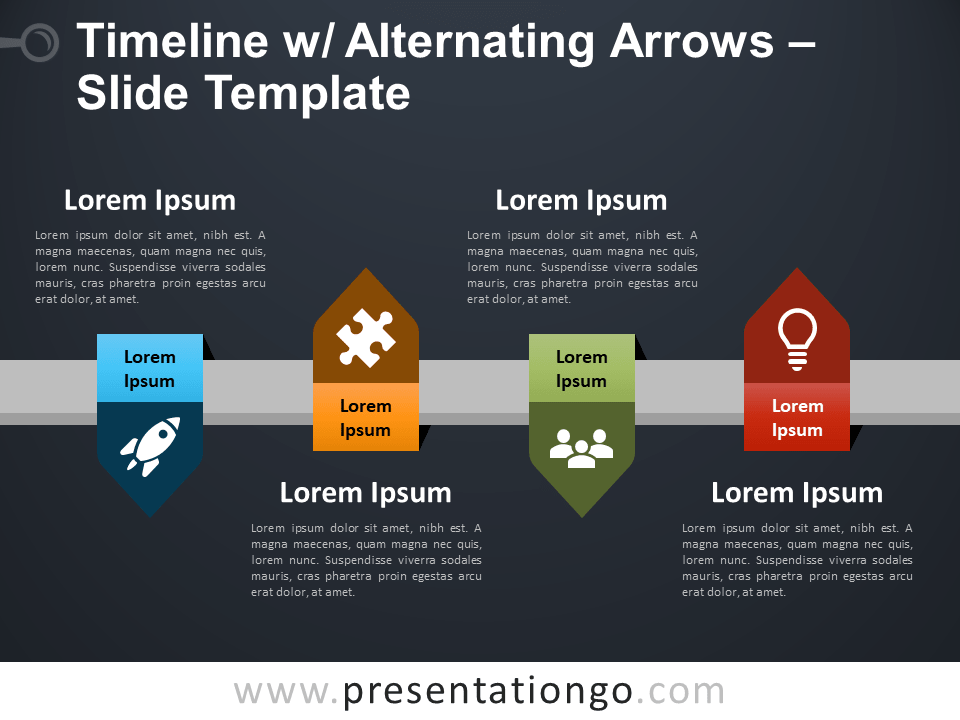 Free Timeline with Alternating Arrows PowerPoint Template