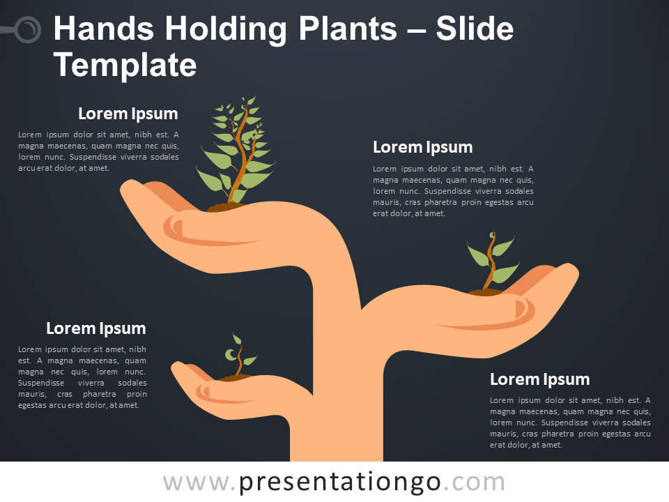 Hands Holding Plants - Metaphor for PowerPoint