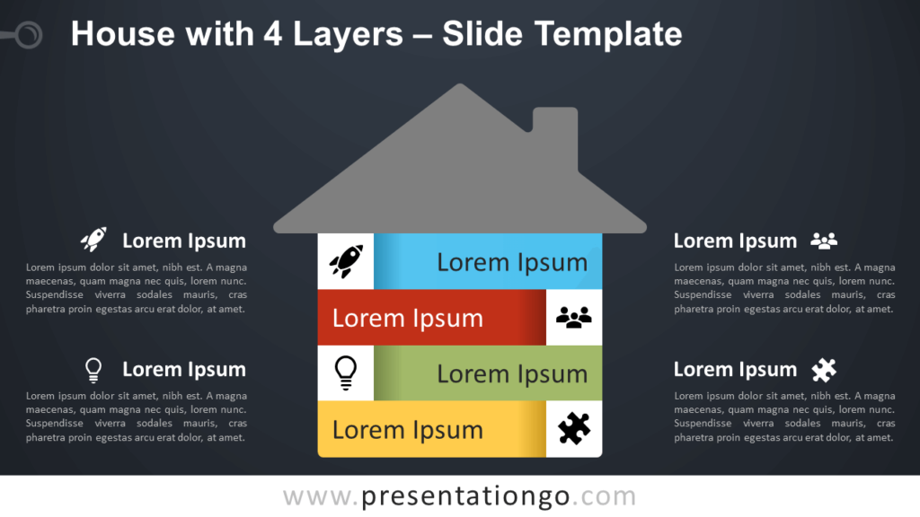 House with 4 Layers - Free Infographic for PowerPoint and Google Slides