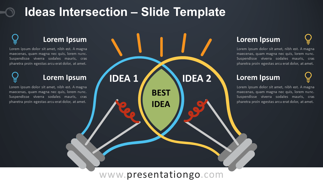 Free Ideas Intersection with Light Bulbs for PowerPoint and Google Slides