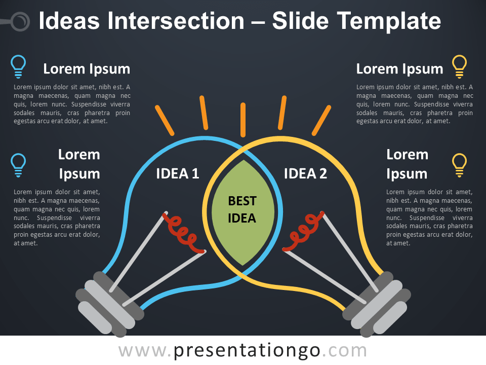 Free Ideas Intersection with Light Bulbs for PowerPoint