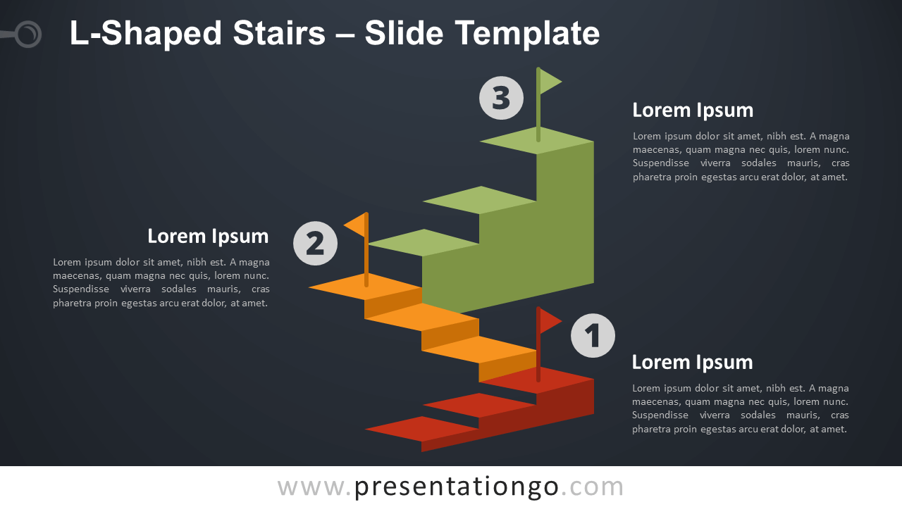 L-Shaped Stairs Infographics for PowerPoint and Google Slides