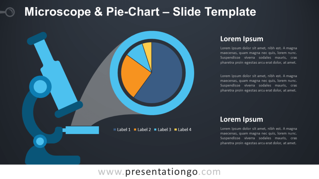 Microscope and Pie-Chart for PowerPoint (Dark Background)