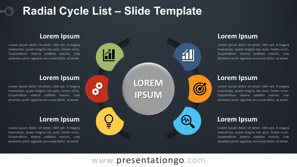 Free Radial Cycle List Diagram for PowerPoint and Google Slides