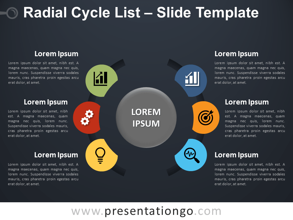Free Radial Cycle List Diagram for PowerPoint